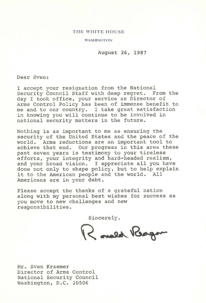 Letter From President Reagan  Sven F Kraemer  Inside The Reagan